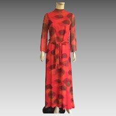 Vintage 1980's Harold Levine Maxi Dress