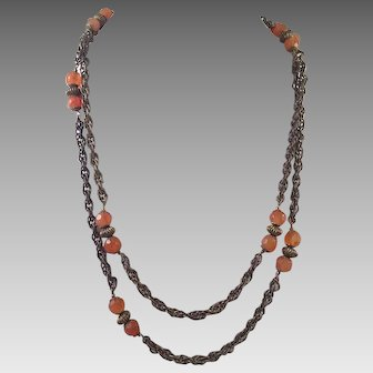 Miriam Haskell Sautoir Necklace With Glass Beads 1970's