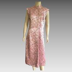 Vintage 1950's Pink & Black Cheongsam Dress With Fan Motif