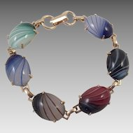 Vintage Gold Tone Art Glass Bracelet