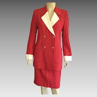 Vintage 1980's Louis Feraud Red & White Suit