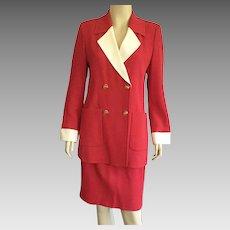 Vintage 1980's Louis Feraud Red & White Suit