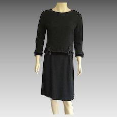 1960's Black Wool & Velvet Suit With Tassels