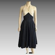 1950's Black Taffeta & Cream Lace Halter Party Dress