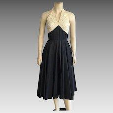 1950's Black Taffeta & Cream Lace Halter Party Dress