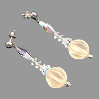 Vintage Clear Aurora Borealis Faceted Crystal Dangle Earrings