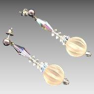 Vintage Clear Cut Aurora Borealis Crystal Dangle Earrings