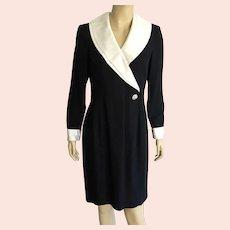 REDUCED Vintage 1980's Morton Myles Black & White Cocktail Dress