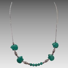 Native American Malachite Bear & Sterling Necklace