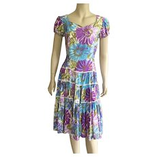 1960's Western Floral Pattern Square Dancing Dress
