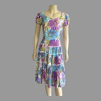 REDUCED 1960's Western Square Dancing Dress Floral Pattern