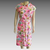 1960's David Crystal Bright Colored Dress