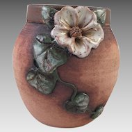 Old Patagonia Pottery Vase With White Flower