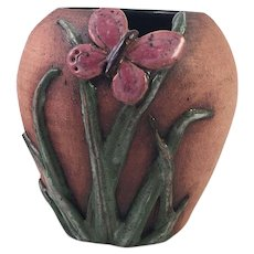 Old Patagonia Pottery Vase With Butterfly