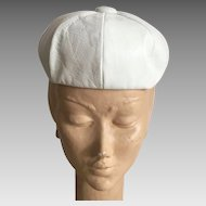 Vintage 1960's Mod White Leather Hat By Sanlea Hats New York