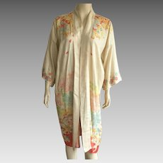 1920's Japanese Silk Robe With Printed Scenes