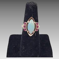 9KT Gold Opal & Synthetic Ruby Ring