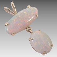 12K Gold Large Double Opal Pendant