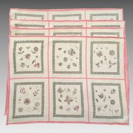 Set Of Four Vintage 1960's Pink & Black Linen Placemats