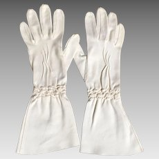 Vintage White Cotton Gauntlet Gloves