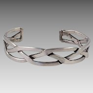Mexican Sterling Open Work Cuff Bracelet
