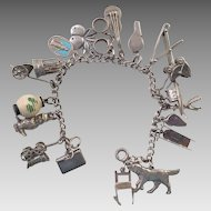 Vintage Sterling Silver Charm Bracelet 19 Charms