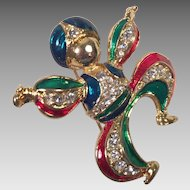 Vintage Figural Goldtone Enamel Rhinestone Genie Pin