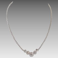 Vintage 1950's 60's Clear Rhinestone Prom Bridal Necklace