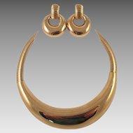 Givenchy Gold Tone Choker and Door Knocker Earrings