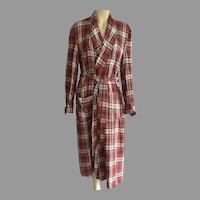 Vintage Men's Plaid Wrap Robe By Dunella Size M