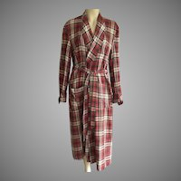 Vintage Men's Plaid Wrap Robe By Dunella Size M