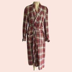 REDUCED Vintage Men's Plaid Wrap Robe By Dunella Size M