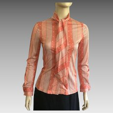1960's Bronson Of California Pussy Bow Blouse NWT