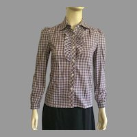 REDUCED 1980's Paul J. White Petite Plaid Blouse NWT