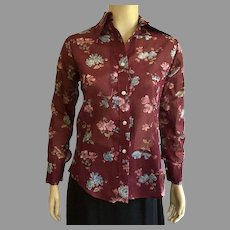 REDUCED 1970's Peck & Peck Floral Print Shirt NWT