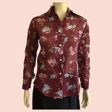 1970's Peck & Peck Floral Print Shirt NWT