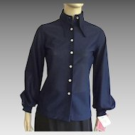 Vintage NWT 1960's Navy Blue Polyester Shirt By Bronson Of California
