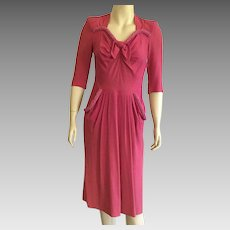 Vintage 1940's Magenta Crepe Dress With Beading