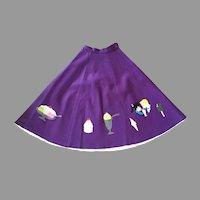 Vintage 1950's Purple Felt Circle Skirt Ice Cream Theme Costume