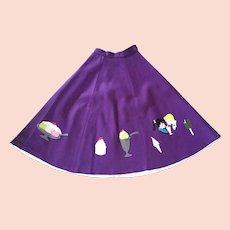 Vintage 1950's Purple Felt Circle Skirt Ice Cream Theme