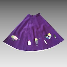 Vintage 1950's Purple Felt Circle Skirt Ice Cream Theme