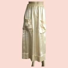 1930's Cream Satin Evening Skirt With Mother Of Pearl Buttons