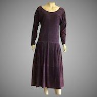 Vintage Maxfield Parrish Purple Suede Dress