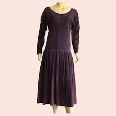 REDUCED Vintage Maxfield Parrish Purple Suede Dress