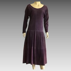 Vintage Maxfield Parrish Purple Suede Dress