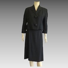 Vintage Early 1960's Black Wool Suit By Friedmont