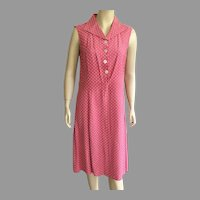 Vintage European Pink and White Polka Dot Sleeveless Dress