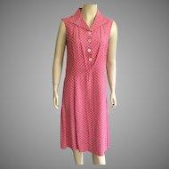Vintage European Pink and White Polka Dot Sleeveless Dress