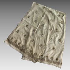 Vintage Silk Scarf With Metallic Embroidery Made In India