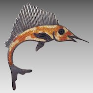 Jeronimo Fuentes Mexican Sterling Enamel Swordfish Pin